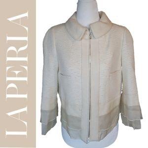 La Perla | Cream Cropped Tweed Taffeta Zip Jacket
